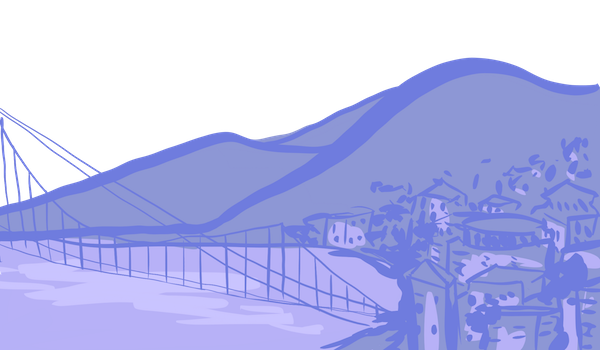 A sketch of the Oakland hills and bridge in purple